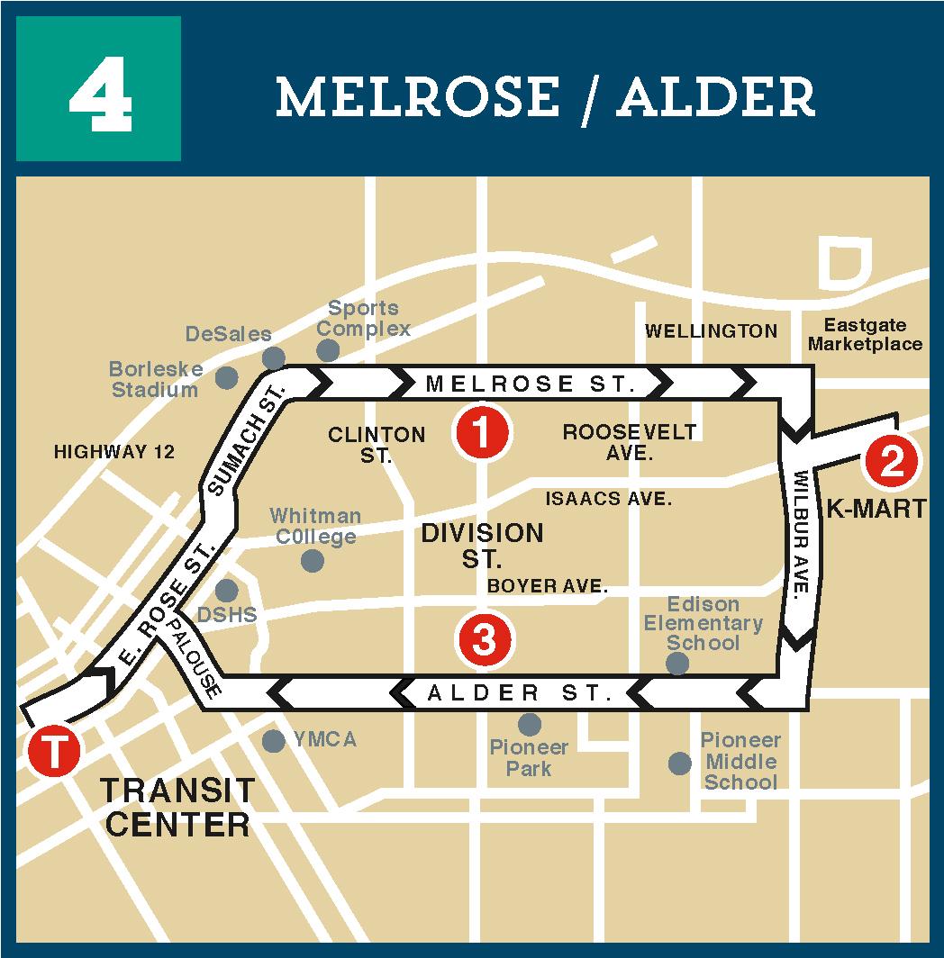 Route 4 Melrose or Alder